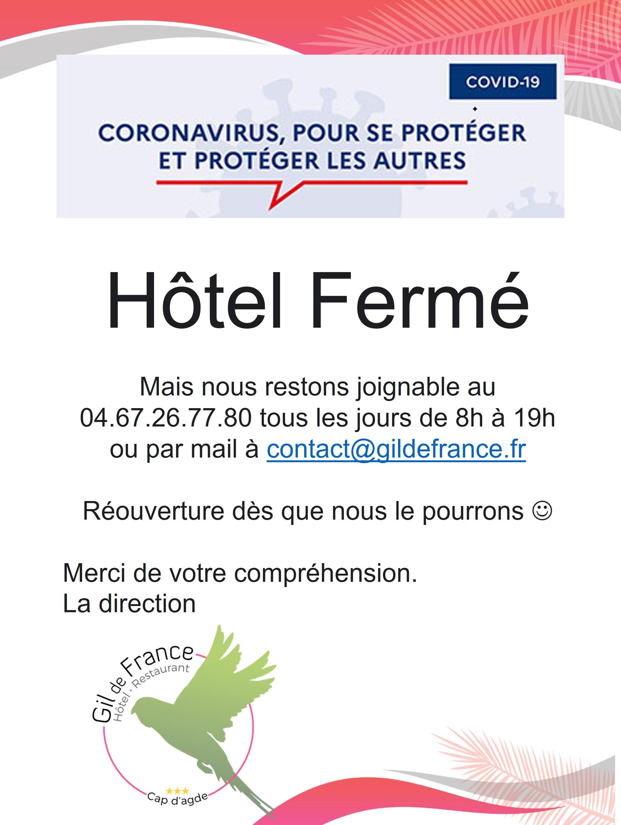 Fermeture Hôtel COVID-19
