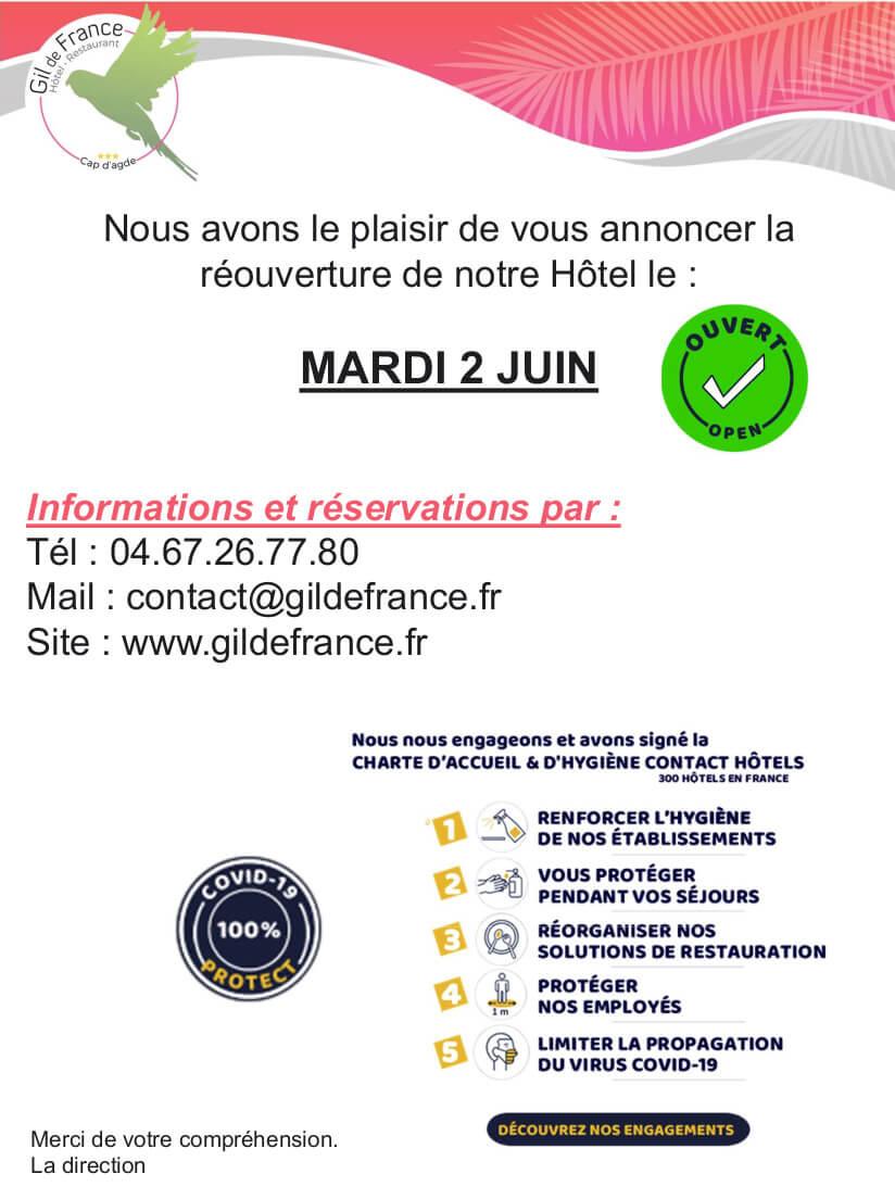Réouverture Hôtel COVID-19